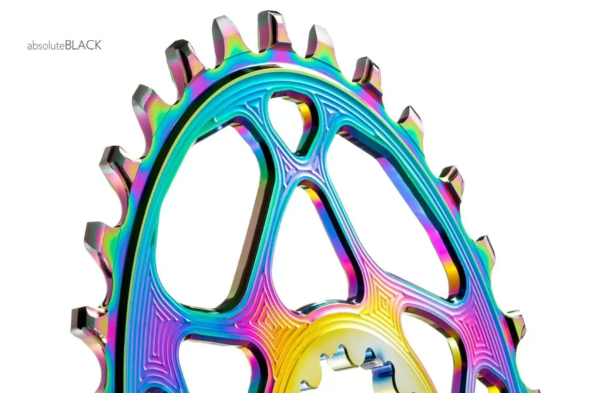 Absolute Black PVD oilslick oval chainring