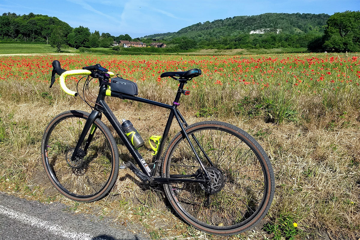 Cannondale Topstone and a field of poppies at Brockham