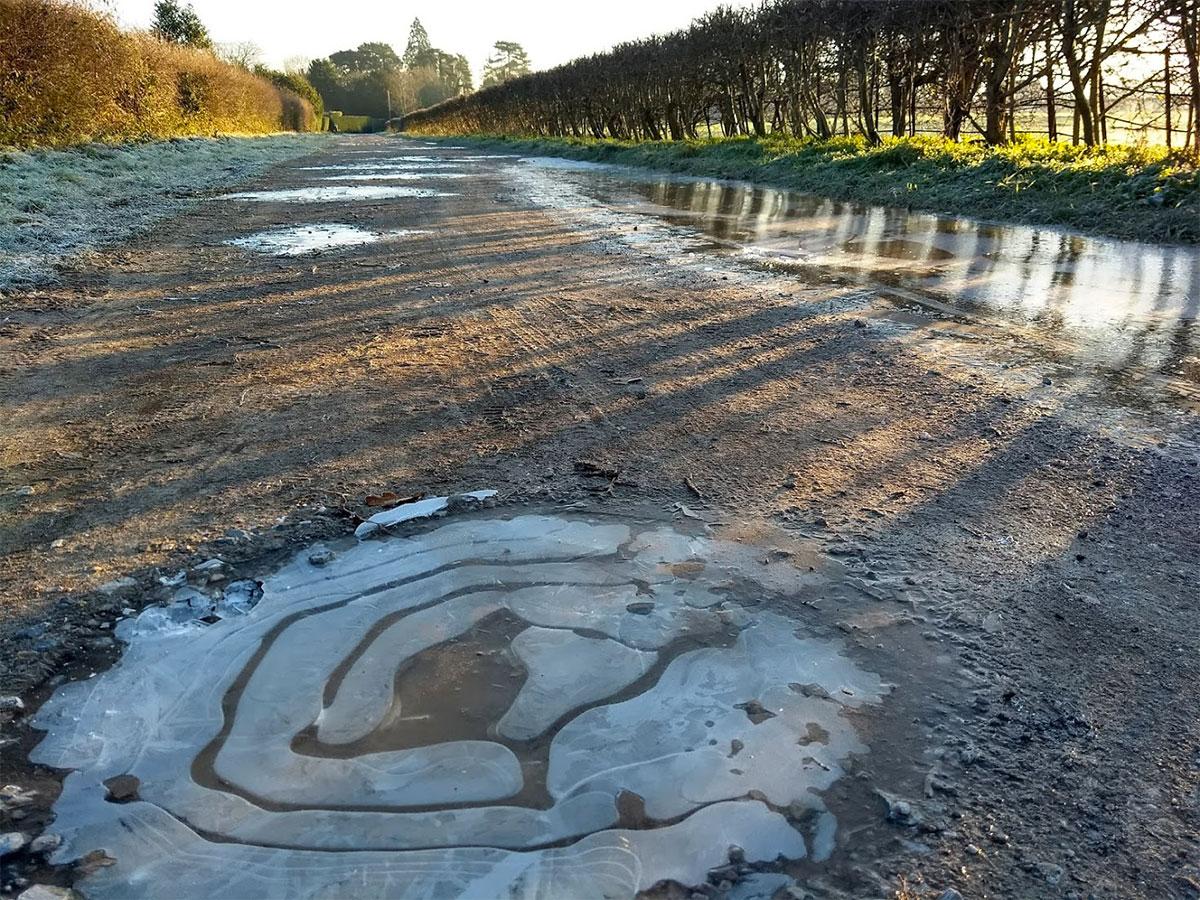 Frozen puddle at Brockham