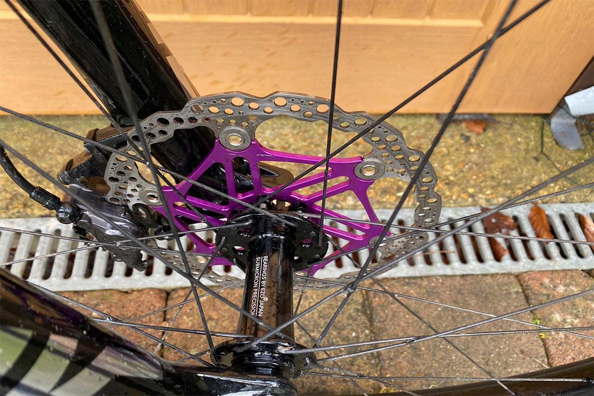 Hope floating disc rotors in purple