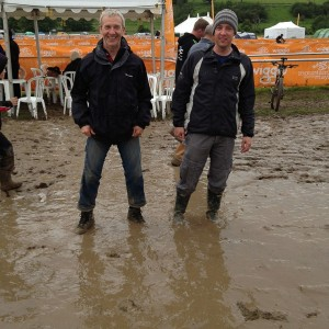 Muddymoles (Kev and Jez) in the slop at Mountain Mayhem 2012