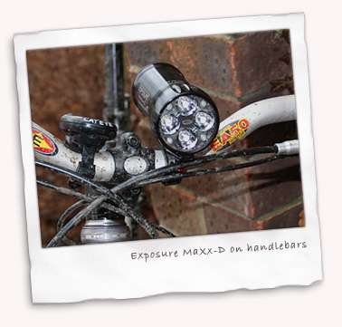 Exposure MaXx-D 4 LED light on handlebars