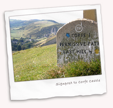 Signpost to Corfe Castle
