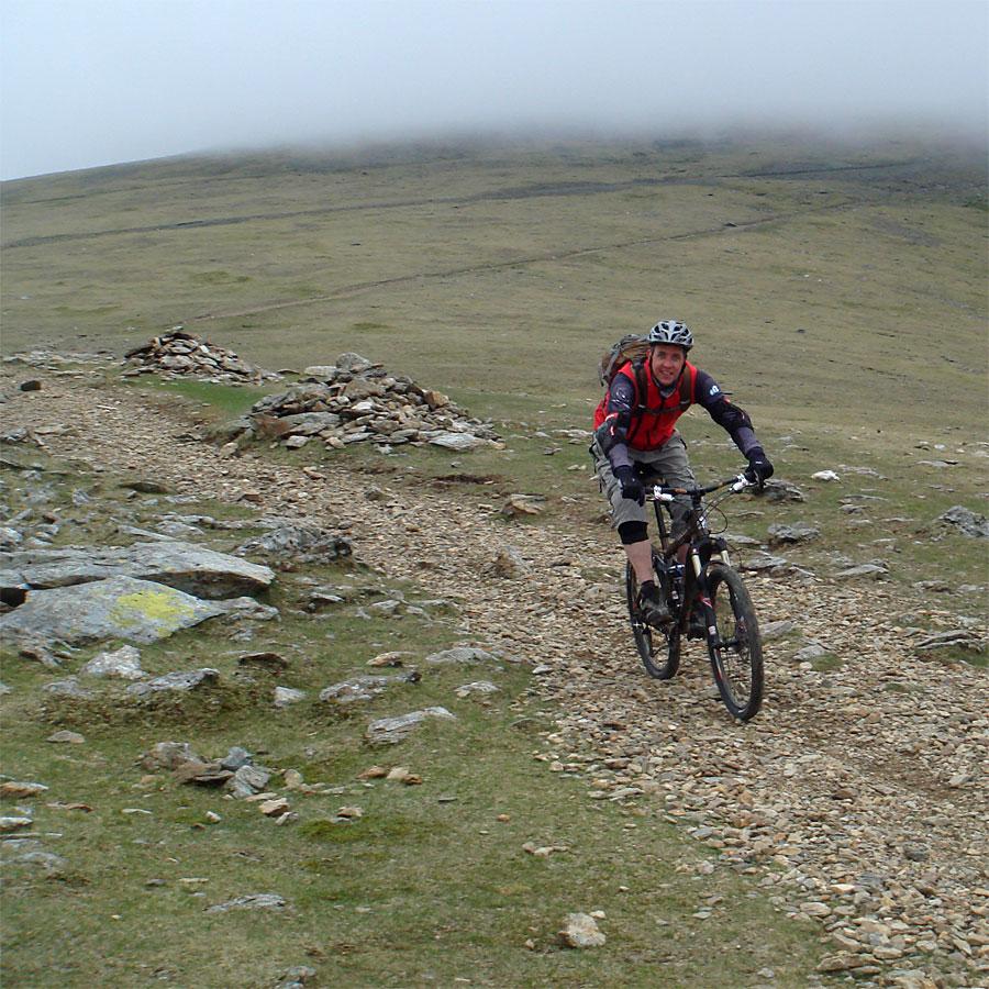 Jez downhill in the Rangers Path on Snowdon