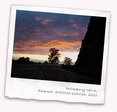 Sunrise from the Holmbury Hill cairn on the 2010 Summer Solstice