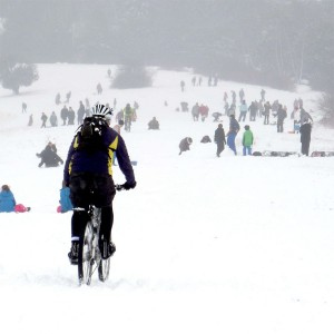 Keith riding Box Hill in the snow